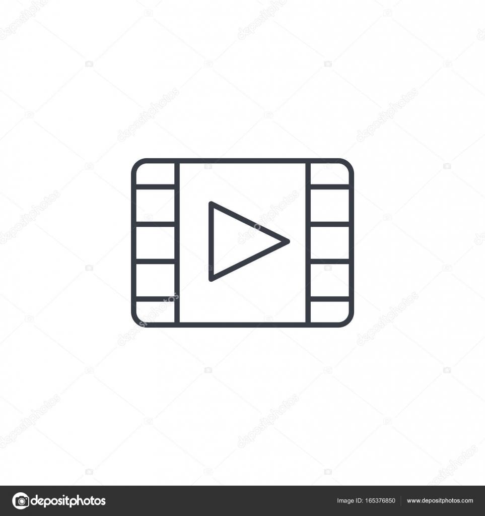 Video-Frame, Film, Film, Kino, Medien Player dünne Linie-Symbol ...