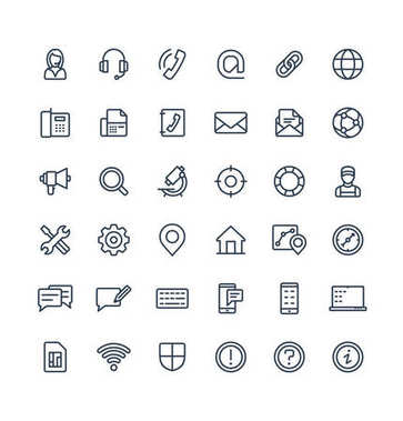 Vector thin line icons set and graphic design elements. Illustration with contact us, technical support service outline symbols. Communication, client call, envelope, customer care linear pictogram clip art vector