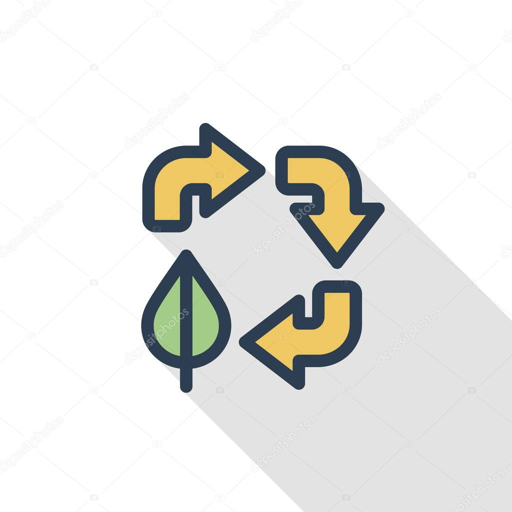 Recycle arrows and leaf icon