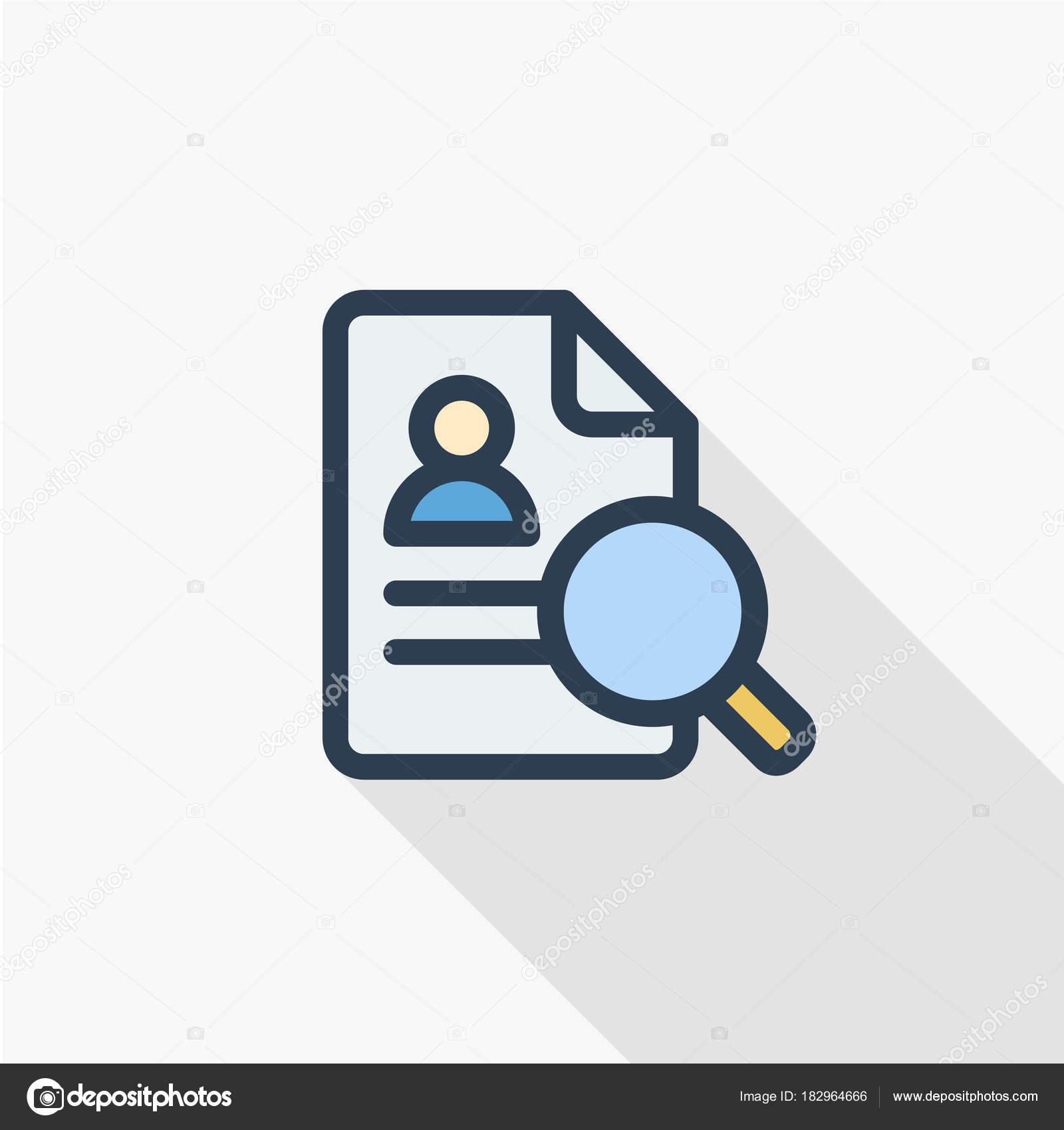 recrutement  l u2019ic u00f4ne de recherche de cv  u2014 image vectorielle r hilch  u00a9  182964666