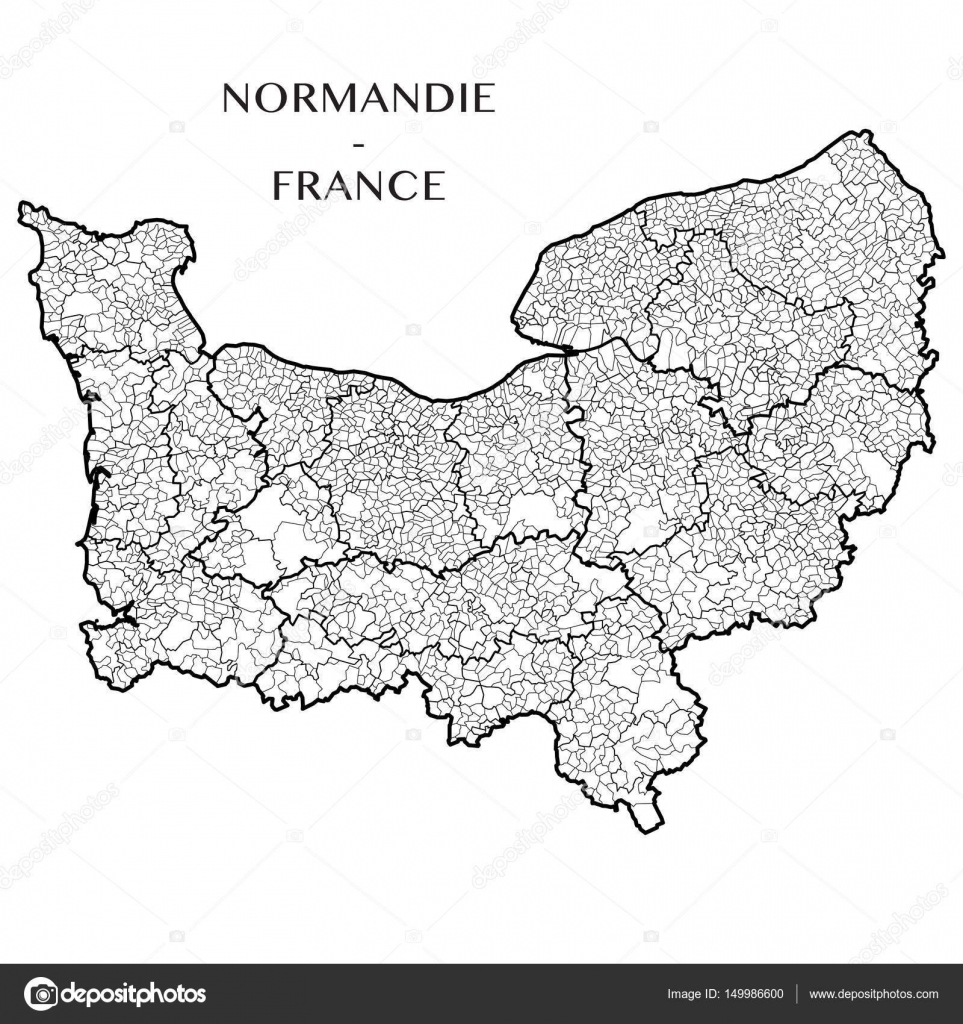 Detailed Map Of The Region Of Normandy France With Borders Of