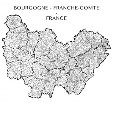 Detailed map of the Region of Bourgogne Franche Comte (France) with borders of municipalities, subdistricts (cantons), districts (arrondissements), and departments (departements). Vector illustration