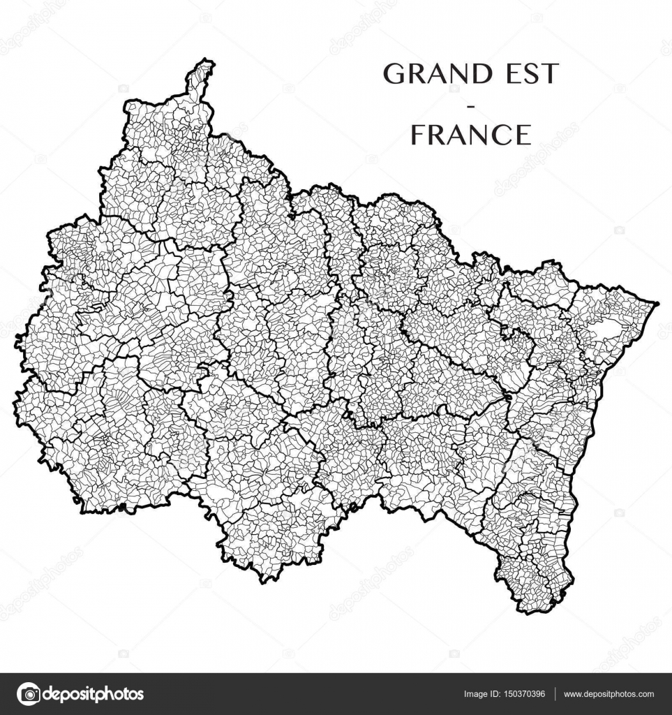 Detailed map of the French region Grand Est (France) with borders of ...