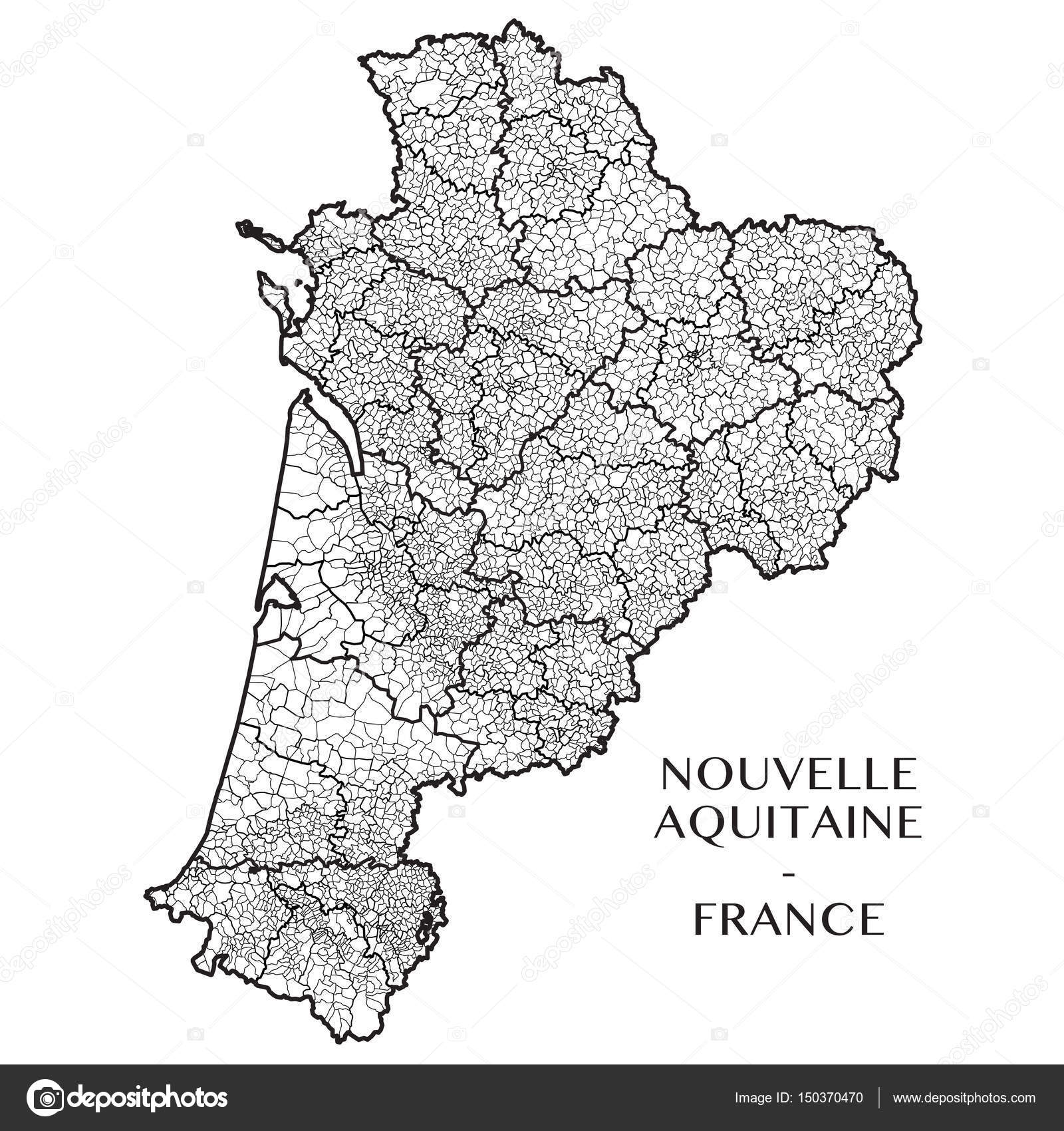 Detailed map of the French region of Nouvelle Aquitaine France