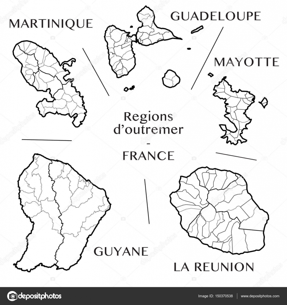 Detailed Map Of The Overseas French Regions Martinique Guadeloupe Mayotte Guiana