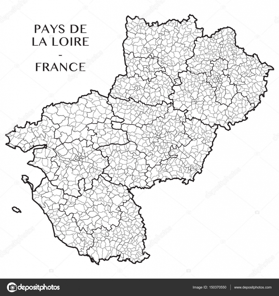 detailed map of the french region of pays de la loire france with borders of municipalities. Black Bedroom Furniture Sets. Home Design Ideas