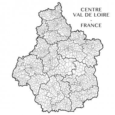 Detailed map of the French region Centre Val de Loire (France) with borders of municipalities, subdistricts (cantons), districts (arrondissements), departments (departements), and region