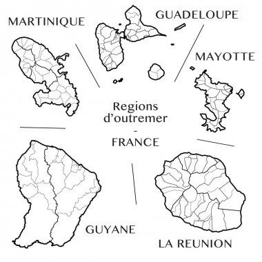Detailed map of the overseas French regions of Martinique, Guadeloupe, Mayotte, French Guiana, and La Reunion (France) with borders of municipalities, subdistricts (cantons), districts (arrondissements), departments (departements), and region