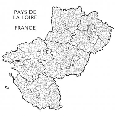 Detailed map of the French region of Pays de la Loire (France) with borders of municipalities, subdistricts (cantons), districts (arrondissements), departments (departements), and region
