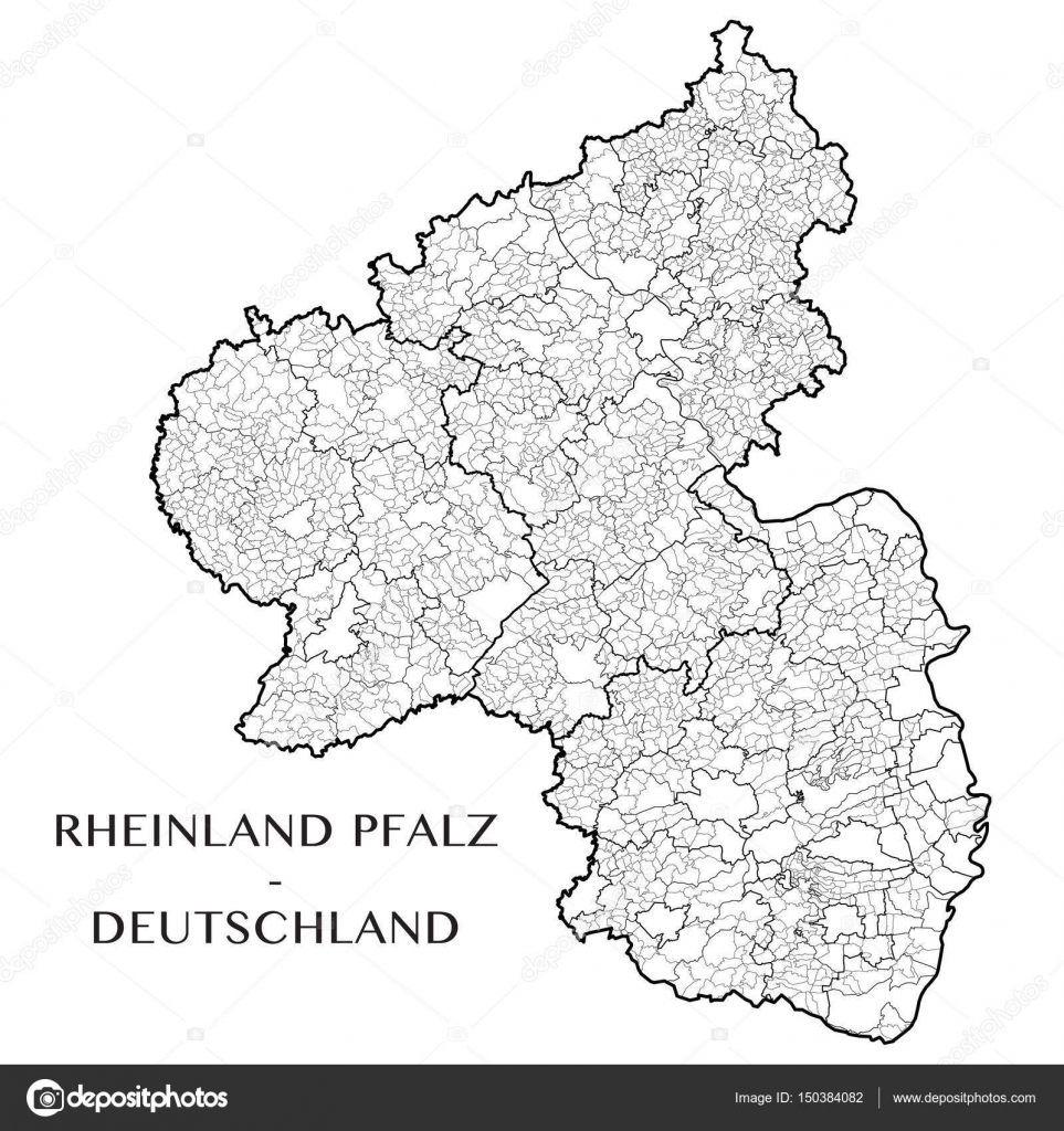 Detailed Map Of The State Of Rhineland Palatinate Rheinland Pfalz