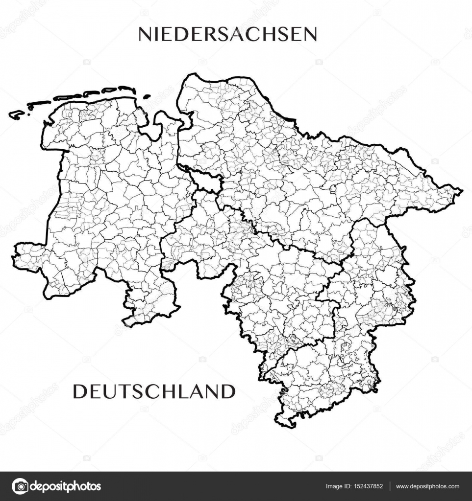 Lower Saxony Germany Map.Detailed Map Of The State Of Lower Saxony Germany With Borders Of