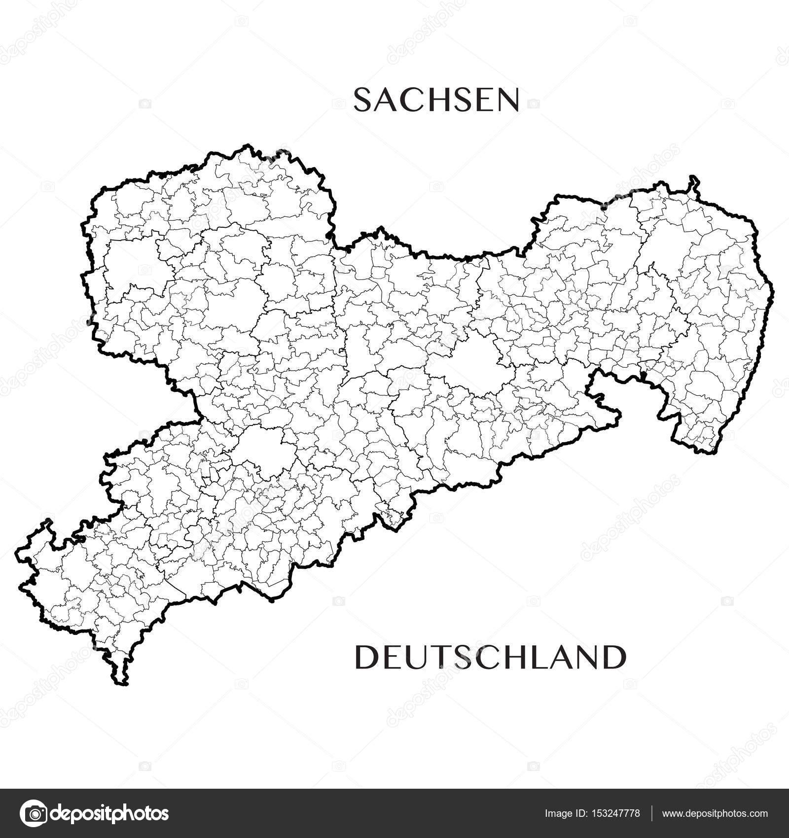 Detaillierte Karte Des Freistaates Sachsen Deutschland Mit