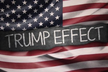 American flag and Trump Effect word