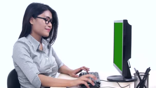 Successful woman working with computer