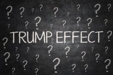 Question marks and Trump Effect word