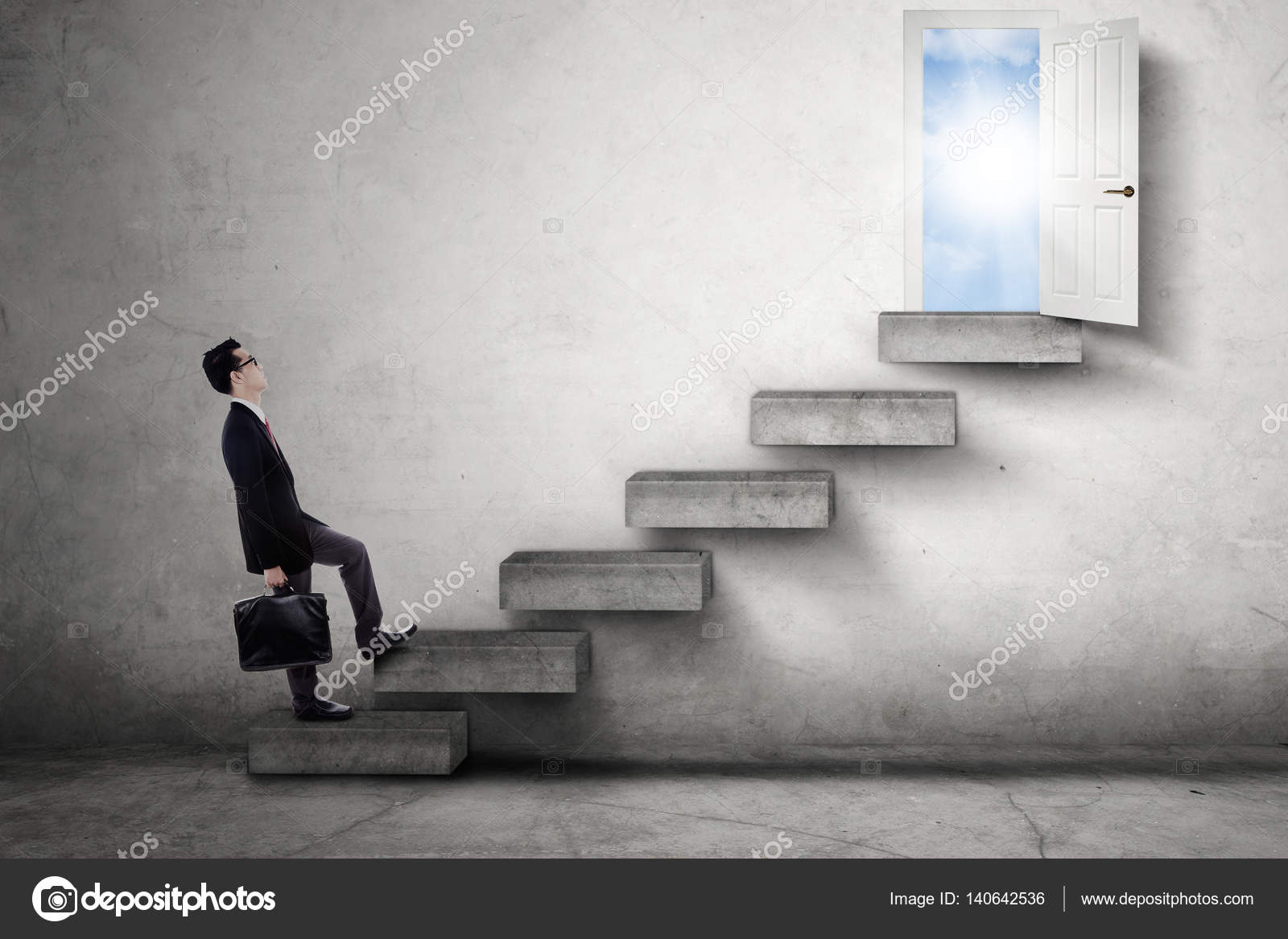 Male worker stepping on stairs toward door \u2014 Stock Photo : door stepping - pezcame.com
