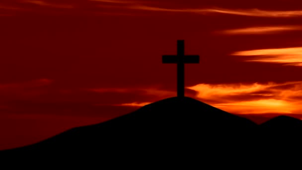Christian cross symbol on the hill at sunrise