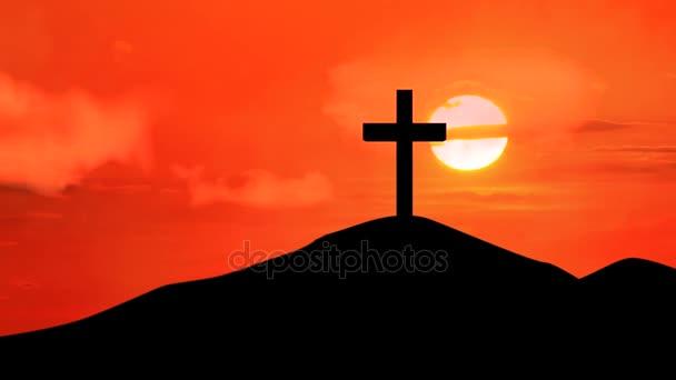 Christian cross with twilight sky