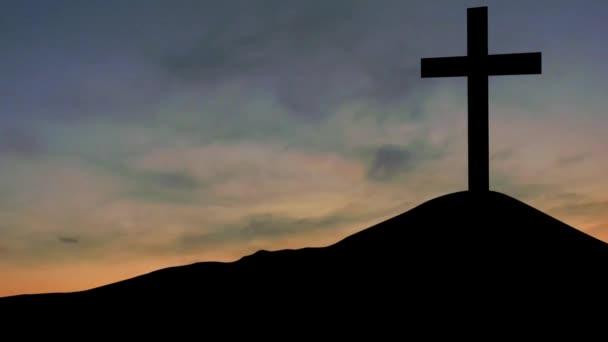 Silueta kříže na obloze sunrise