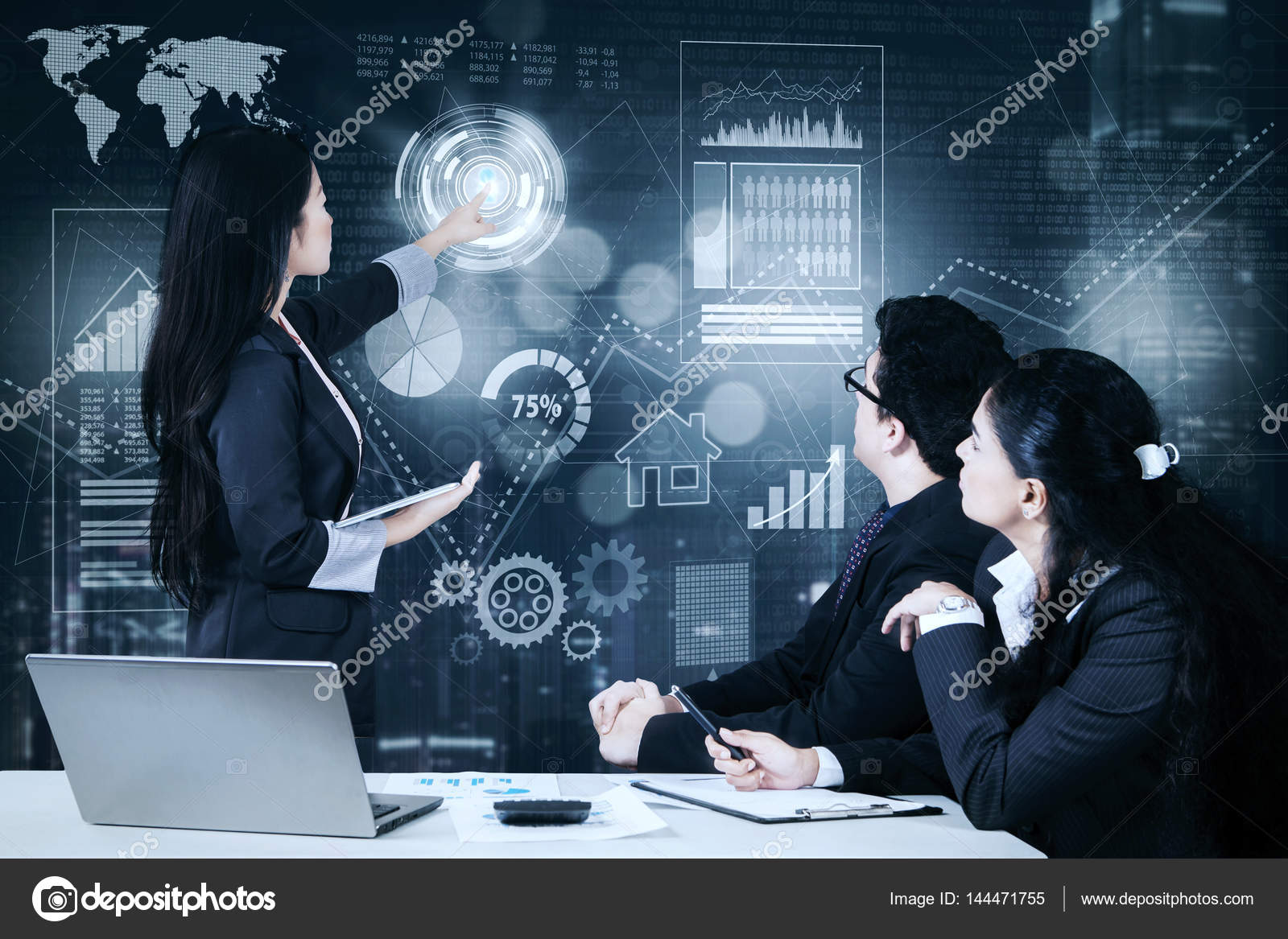 Businesswoman Explaining Growth Graph To Her Colleague