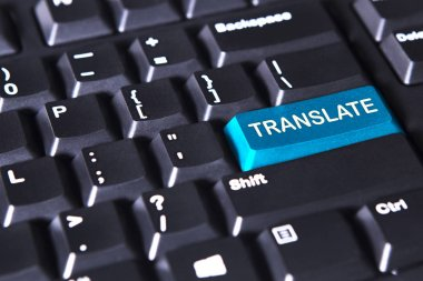 Computer keyboard with text of translate