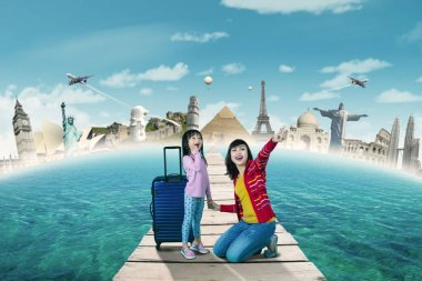 Mother and daughter on travel world