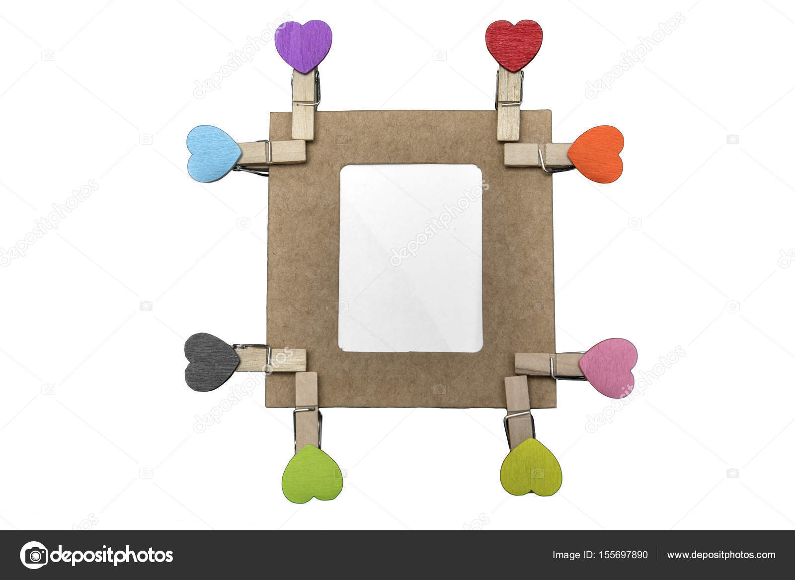 Eight heart clips with cardboard frame — Stock Photo © realinemedia ...