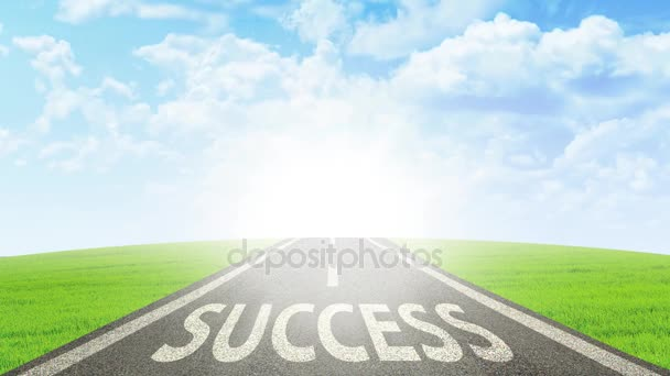 Road with Success word on the asphalt