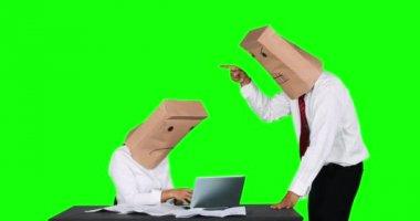 Unknown businessman scolding his worker on desk