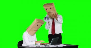 Unidentified businessman scolding his worker on desk