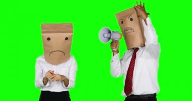 Angry anonymous businessman scolding with megaphone