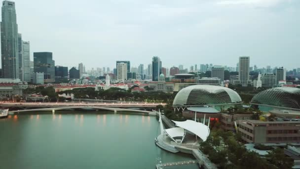 Singapore. November 21, 2017: Aerial shot of Esplanade Outdoor Theatre and Singapore city skyline in Marina Bay. Shot in 4k resolution