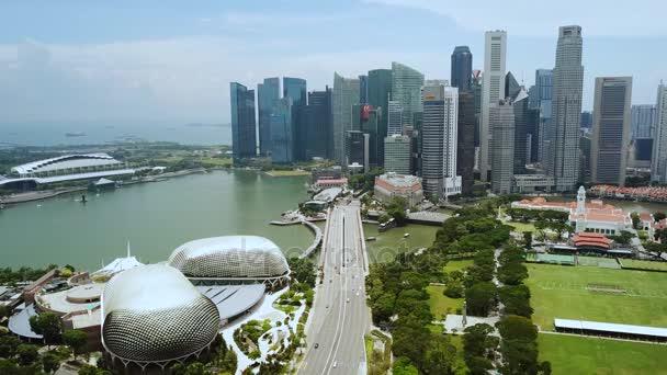 Singapore. November 21, 2017: Beautiful drone shot of Esplanade Theatre and skyscrapers in Marina Bay Singapore. Shot in 4k resolution