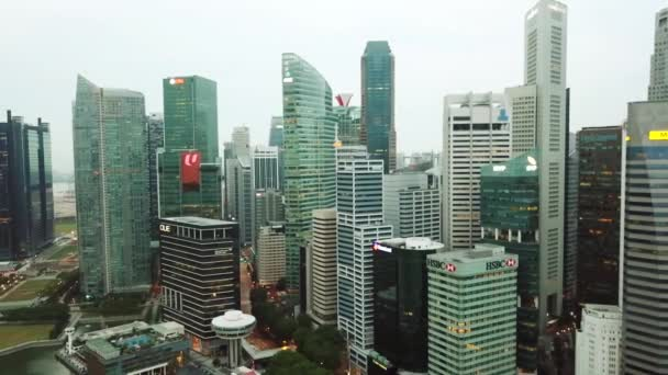Singapore. November 21, 2017: Aerial shot of skyscrapers in Central Business District at Marina Bay Singapore. Shot in 4k resolution