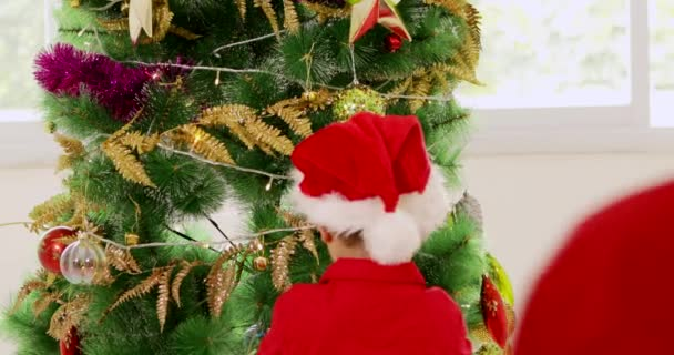 two cute chinese little boys decorating christmas tree while wearing stock video