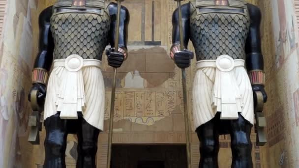 Singapore - November 28, 2017: Video footage of Egyptian Anubis Statue in  Ancient Egypt Area at Universal Studios