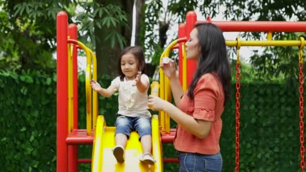 Happy young woman and her daughter blowing soap bubbles while having fun on a slide at the park