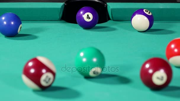 Close White Billiard Ball Hitting Billiard Ball Number Four Get ...
