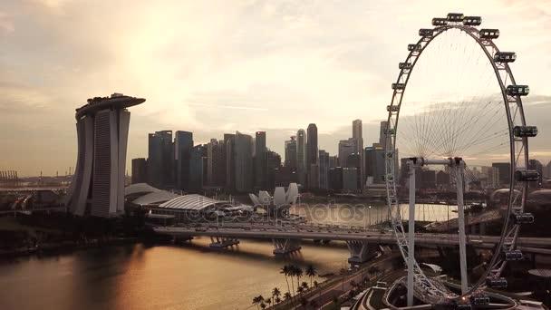 Singapur Enero 2018 Abejon Vista Singapore Flyer Atardecer Con Hotel