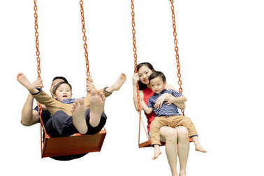 Image of young parents hugging their son while playing with swings, isolated on white background stock vector