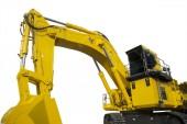 Yellow excavator parked on studio