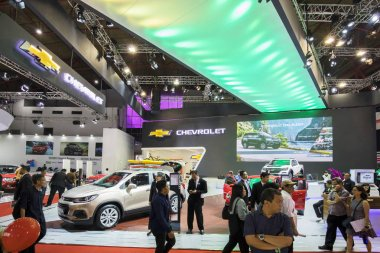JAKARTA - Indonesia. May 02, 2018: Chevrolet booth with crowded people at the exhibition of Indonesia International Motor Show stock vector