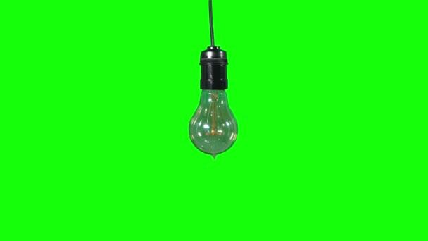 helle Glühbirne mit grünem Hintergrund
