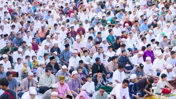 JAKARTA - Indonesia. February 14, 2020: Hundred of Muslim people praying together while celebrating Eid Al Fitr day