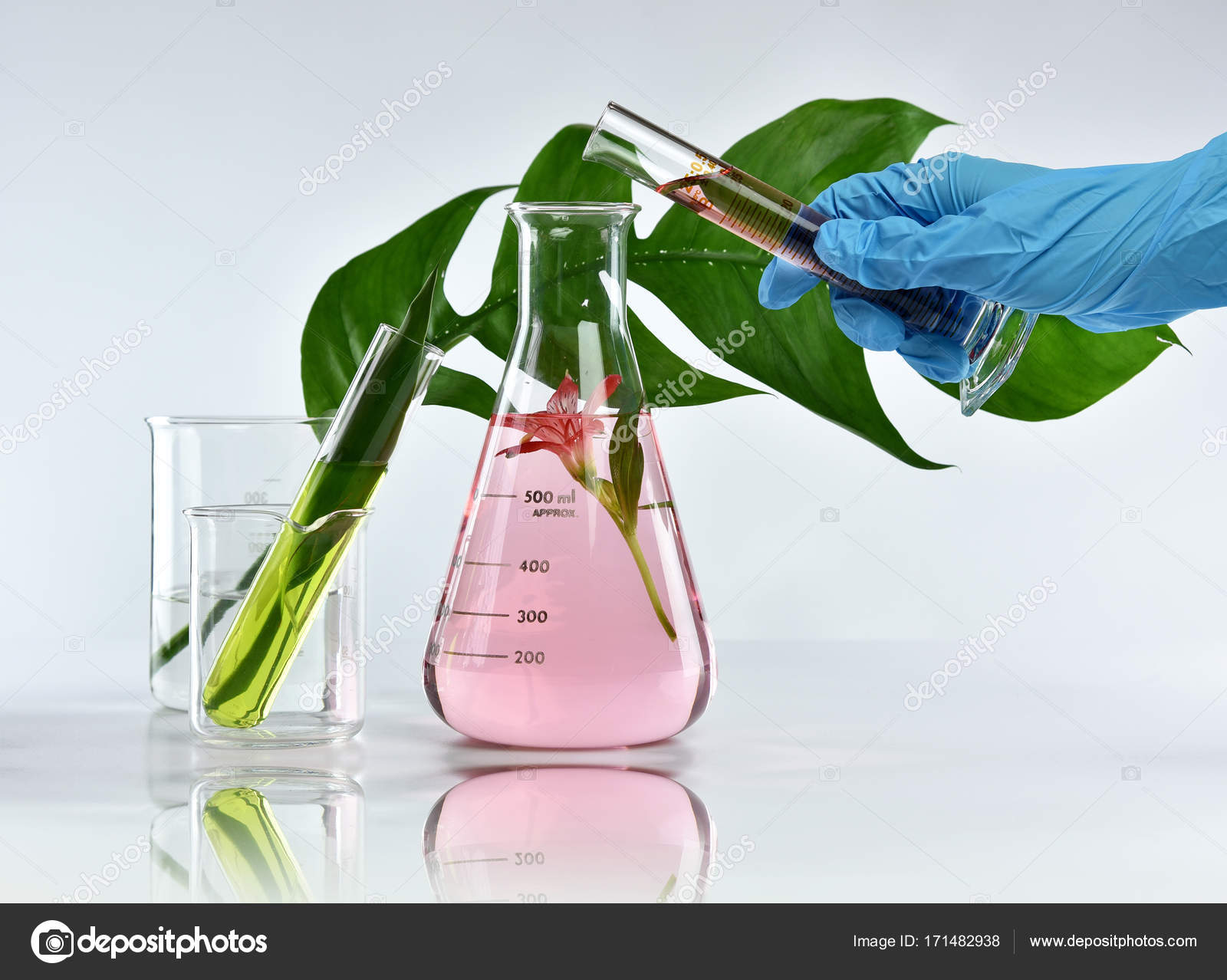 Researcher mixing organic natural extraction, Pharmacist