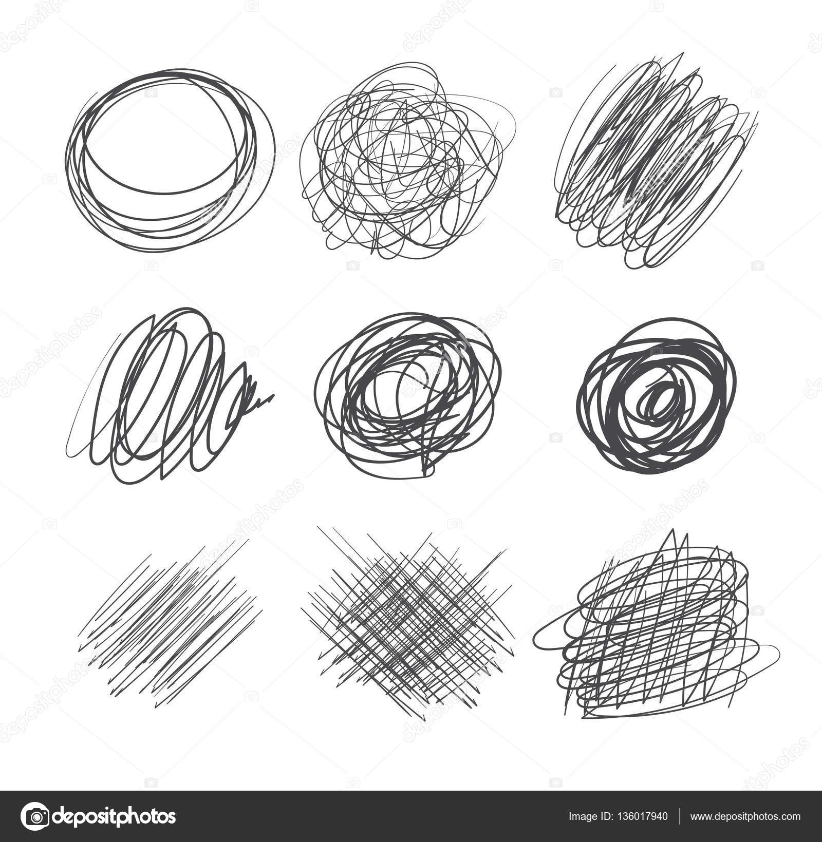 Abstract chaotic round sketch pencil drawing for your design vector illustration isolated on white background vector by kharlamova lv