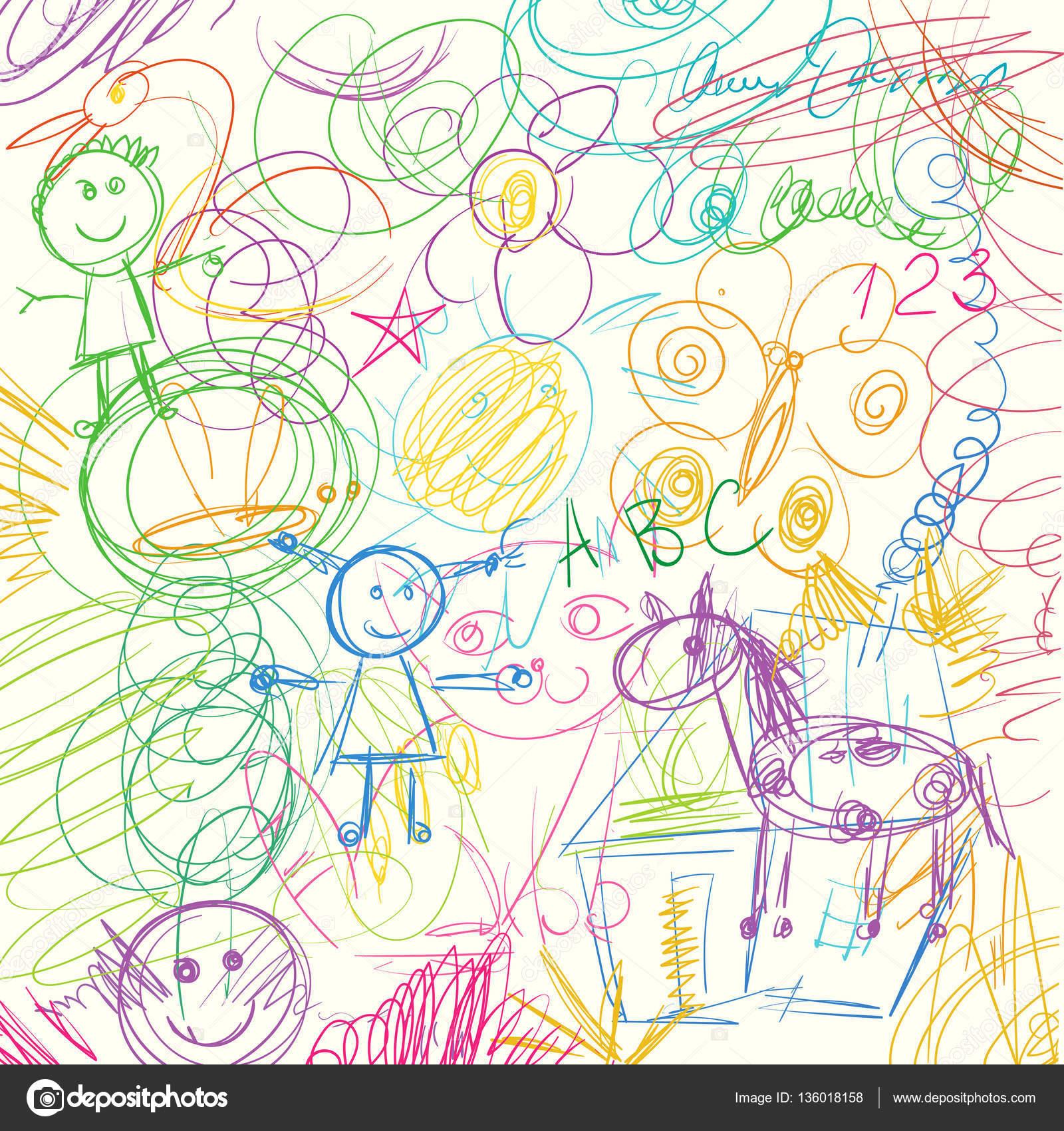 Rabiscos de l pis de cor feitos por uma crian a vetores - Garabatos mobiliario juvenil e infantil ...