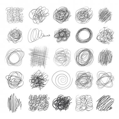 Set of ink lines of hand drawn textures, scribbles of pen