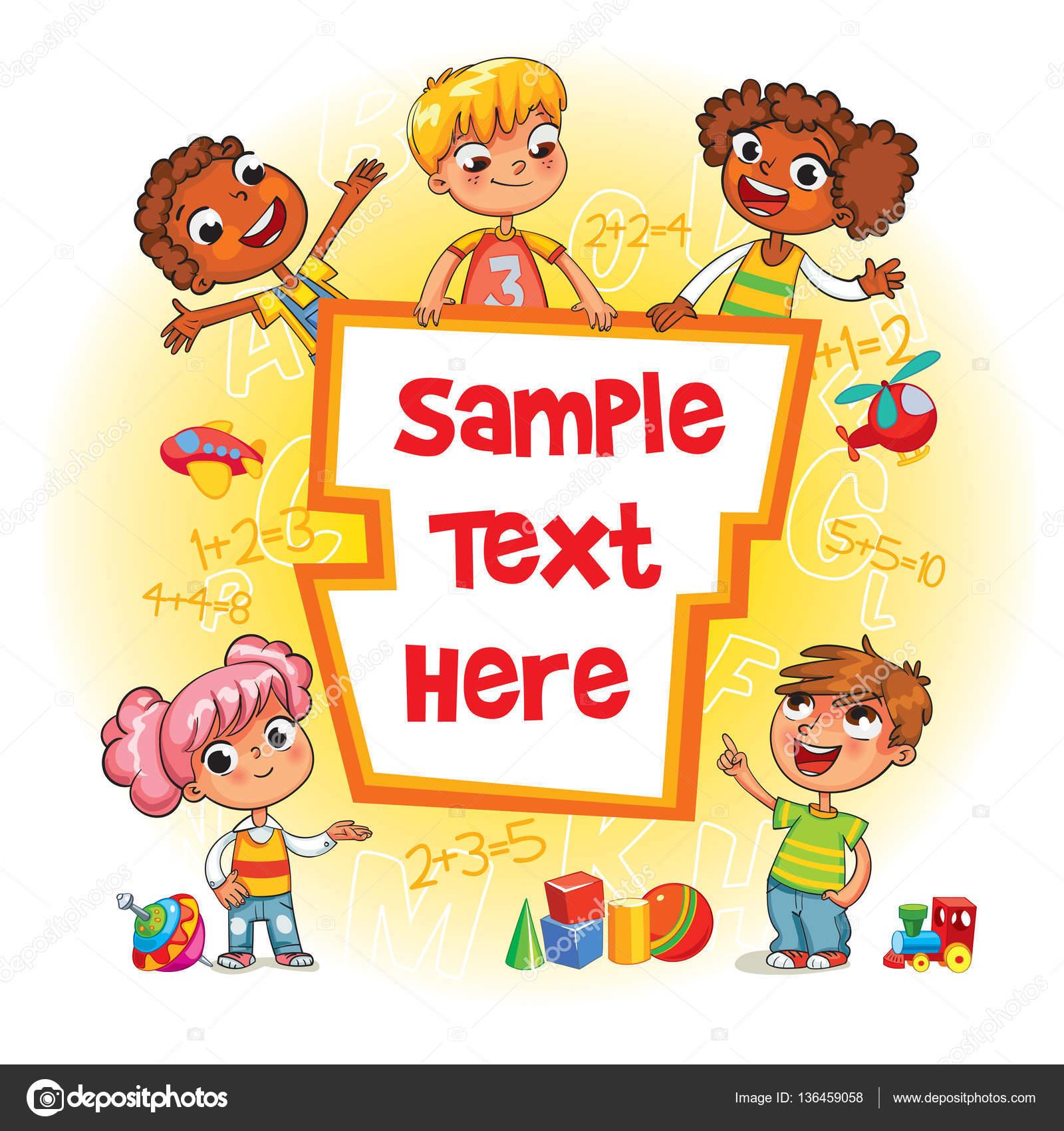 Cubierta de libro de los niños. Niños apuntando a una plantilla en ...