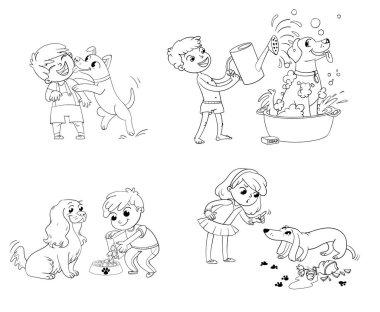 Dog training. Funny cartoon character
